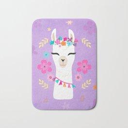 Cute Happy Llama - Purple Boho Alpaca with Flowers Bath Mat
