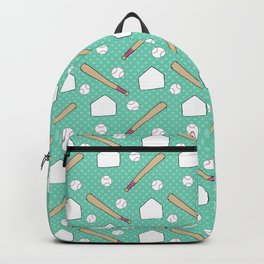 Boy baseball pattern on a teal background Backpack