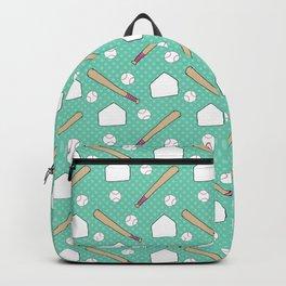 Boy baseball pattern on a teal background Backpack
