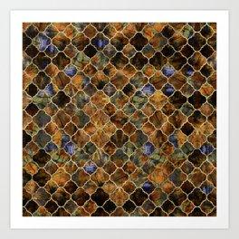 Quatrefoil Moroccan Pattern Brown Labradorite Art Print
