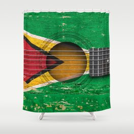 Old Vintage Acoustic Guitar with Guyanese Flag Shower Curtain
