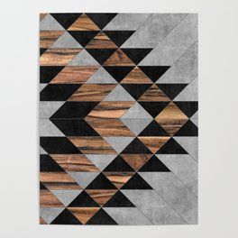 Urban Tribal Pattern No.10 - Aztec - Concrete and Wood Poster