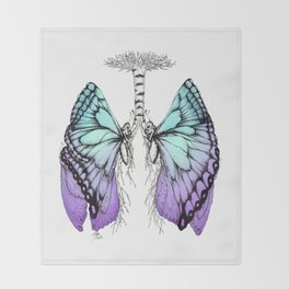 Butterfly Lungs Blue Purple Throw Blanket
