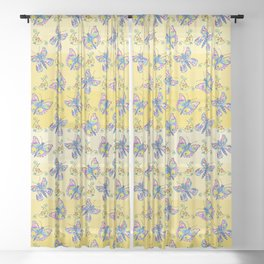 Butterfly Pattern Sheer Curtain