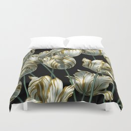 Winter Tulips in Gold. Duvet Cover