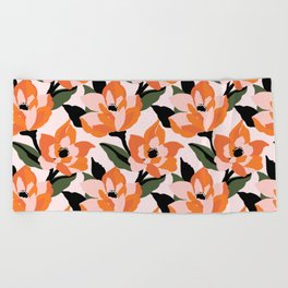 Bold orange poppy on a soft pink base Beach Towel