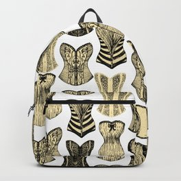 Vintage Sexy Cream and Black Girly Corsets Pattern Backpack