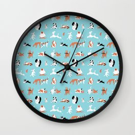 Dogs, Dogs, Dogs, Blue Wall Clock