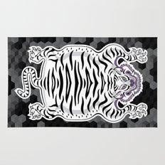 TIBETAN TIGER WHITE (black) Rug