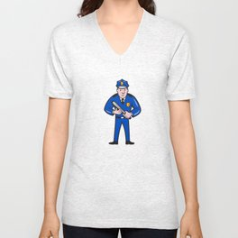Policeman With Night Stick Baton Standing Unisex V-Neck