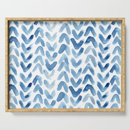 Blue Chevron Watercolour Serving Tray