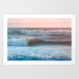 Beach Adventure Summer Waves at Sunset Art Print