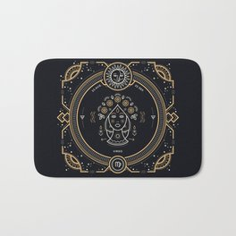 Virgo Zodiac Gold White on Black Background Bath Mat