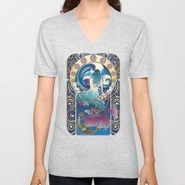 Blue Mermaid with anchor art nouveau design Unisex V-Neck