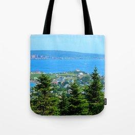 Bonaventure Island panoramic Tote Bag