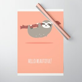 Sloth card - hello beautiful Wrapping Paper