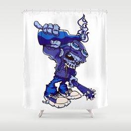 Anarchy Skeleton - Denim Shower Curtain