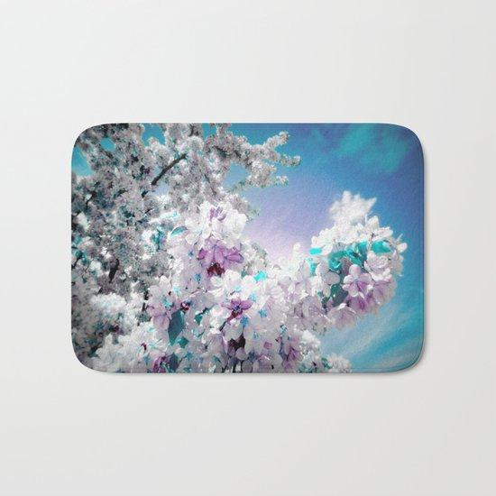 Flowers Lavender Turquoise Aqua Blue Bath Mat