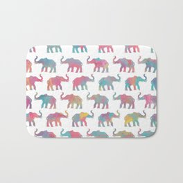 Elephants on Parade in Watercolor Bath Mat