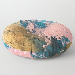 Coral Reef [1]: colorful abstract in blue, teal, gold, and pink Floor Pillow