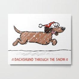 Dachshund Through the Snow Metal Print