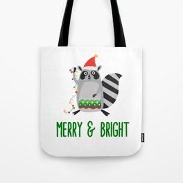 Merry & Bright Racoon with Christmas Lights Tote Bag