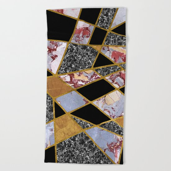 Abstract #486 Shards of Onyx, Marble & Gold Beach Towel