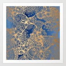 Blue and Gold Zen Doodles Art Print