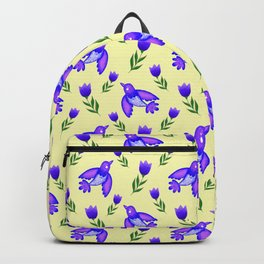Pretty cute little wild blue birds, red blooming garden tulips, nature flowers bright sunny yellow pattern. Hello spring. Gifts for tulip lovers. Botanical floral artistic design. Backpack