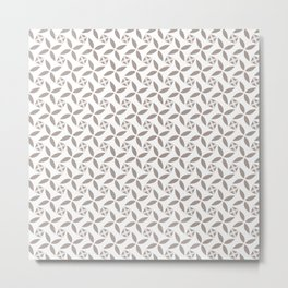 TERRAPIN taupe tan repeating pattern on white Metal Print