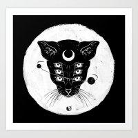 Cat Moon Art Print