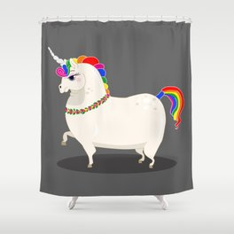Fat and perfect unicorn Shower Curtain