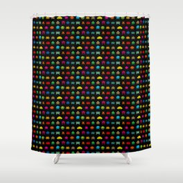 Invaders of Space retro arcade video game pattern design Shower Curtain