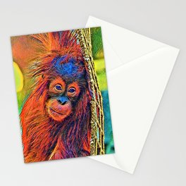 AnimalColor_OrangUtan_001_by_JAMColors Stationery Cards