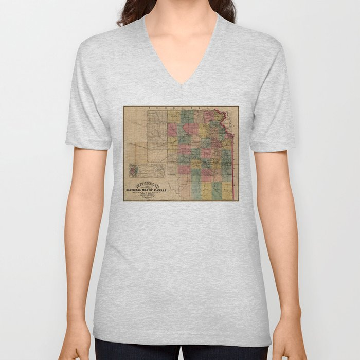 Mitchell's Sectional Map of Kansas (1859) Unisex V-Neck