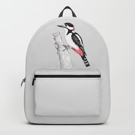 Great spotted woodpecker pen drawing Backpack