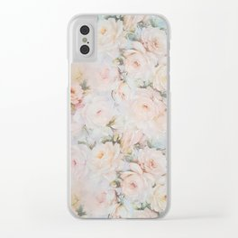 Vintage romantic blush pink ivory elegant rose floral Clear iPhone Case