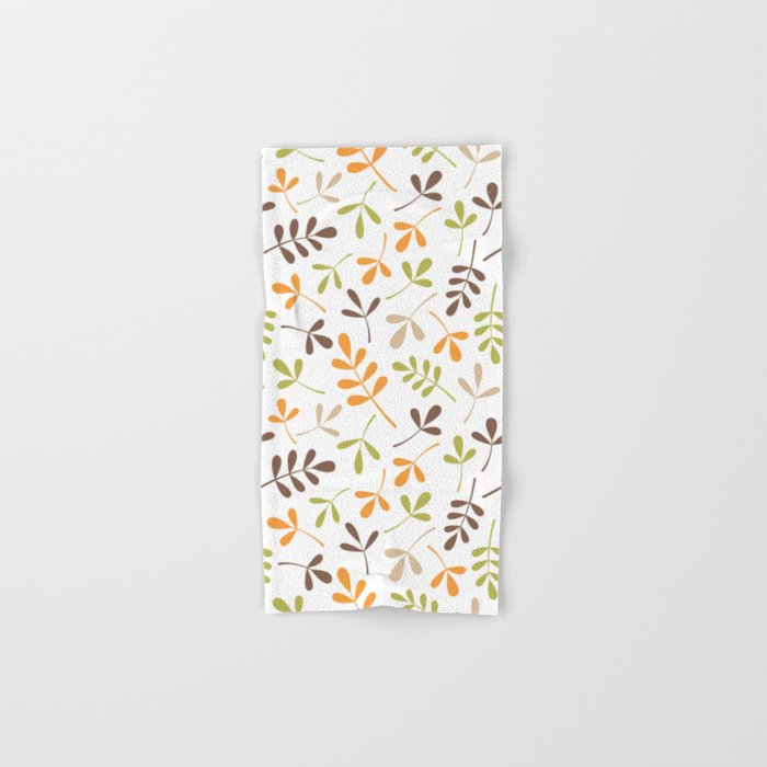 Assorted Leaf Silhouettes Ptn Retro Colors Hand & Bath Towel