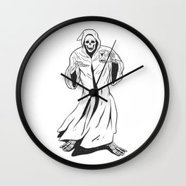 Grim reaper holding an hourglass -  black and white Wall Clock