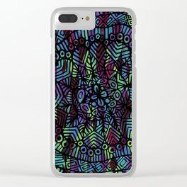 Purple and Green Doodle 14 Clear iPhone Case