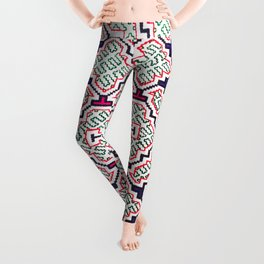 Song for Good Work - Traditional Shipibo Art - Indigenous Ayahuasca Patterns Leggings