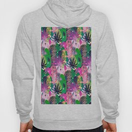 Seamless exotic pattern with mottled tropical palm leaves Hoody