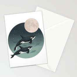moonlight caravan // orcas Stationery Cards