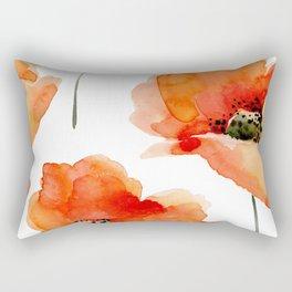 Modern hand painted orange watercolor poppies pattern Rectangular Pillow