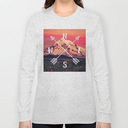 Snowy Mountain Compass Long Sleeve T-shirt