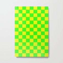 Checkered Pattern Vivid Lime Green and Vivid Lemon Yellow Neon Colors Metal Print