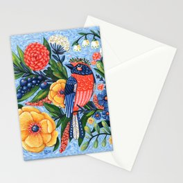 Coral Songbird and Flowers Acrylic Painting Stationery Cards