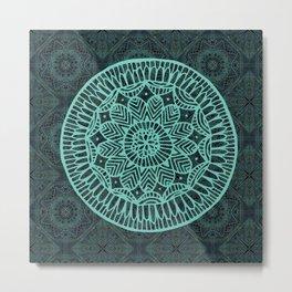 Blue Doodle Mandala Metal Print