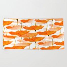Orange Poppies On A White Background #decor #society6 #buyart Beach Towel