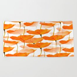 Orange Poppies On A White Background #decor #society6 #buyart Beach Towel